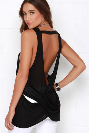 Obey Anabella Black Backless Muscle Tee at Lulus.com!