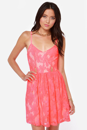 Flirt It Out Neon Coral Skater Dress