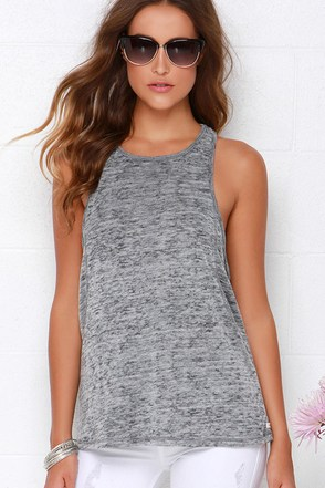 Obey Slater Heather Grey Tank Top at Lulus.com!