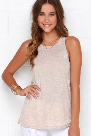 Obey Slater Beige Tank Top at Lulus.com!