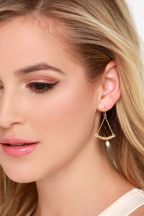 Swing Sweetly Gold Pearl Earrings at Lulus.com!