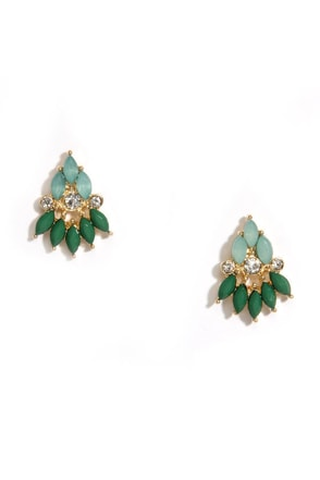 Jewels and Gems Green Rhinestone Earrings at Lulus.com!