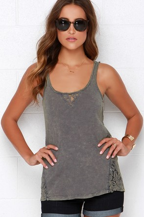 Others Follow Finders Keepers Washed Green Lace Tank Top at Lulus.com!