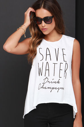 Wyldr Save Water Ivory Muscle Tee at Lulus.com!