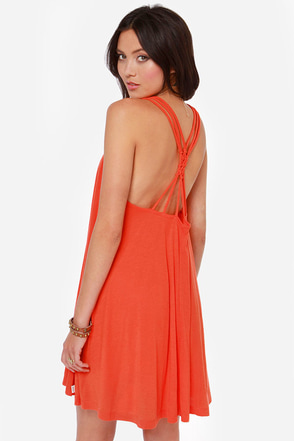 RVCA Magnitude Red Orange Dress