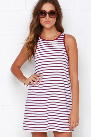 Rhythm The Strokes Ivory and Burgundy Striped Dress at Lulus.com!