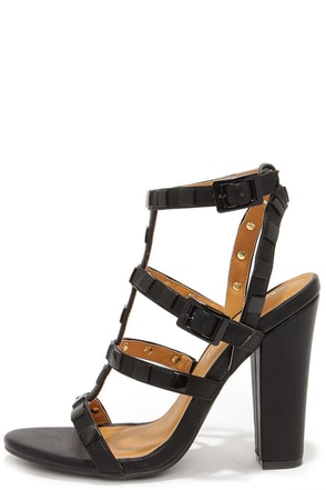 Stud Lovin' Black Studded High Heel Sandals at Lulus.com!