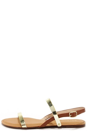Jell Together Chestnut and Gold Jelly Flat Sandals at Lulus.com!
