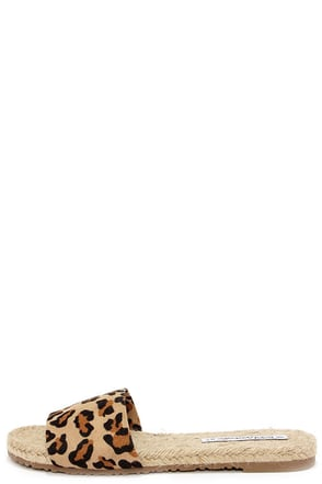 Boardwalk Breeze Leopard Espadrille Slide Sandals at Lulus.com!