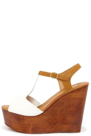 Fairest Wheel White Wedge Sandals at Lulus.com!