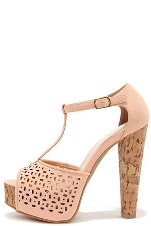 Punch Lines Tan T-Strap Platform Sandals at Lulus.com!