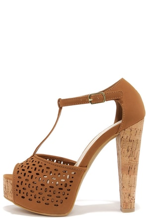 Punch Lines Peach T-Strap Platform Sandals at Lulus.com!