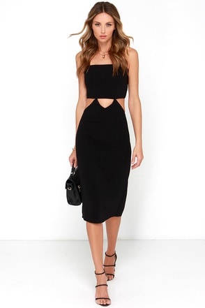 Be Enthralled Black Backless Midi Dress at Lulus.com!