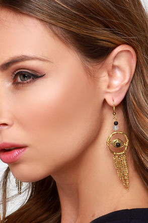 Outta Sight Black and Gold Earrings at Lulus.com!