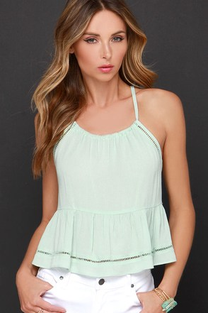 Bashful Beauty Sage Green Crop Top at Lulus.com!