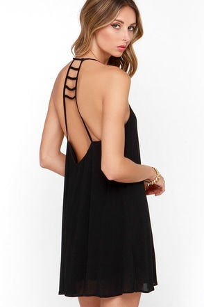 Afternoon Outing Black Swing Dress at Lulus.com!