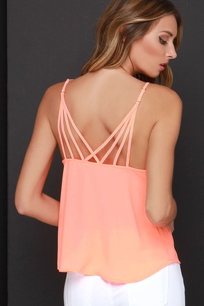 Fast Tempo Bright Coral Tank Top at Lulus.com!