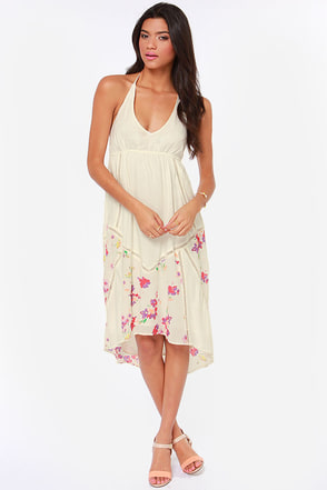 O'Neill Petra Cream Floral Print Halter Dress