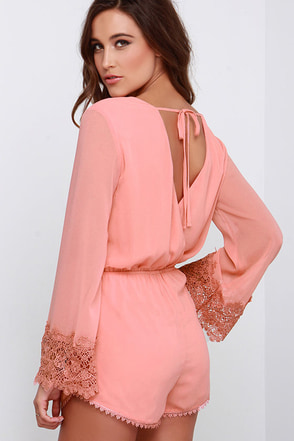 Field Frolicking Peach Lace Long Sleeve Romper at Lulus.com!
