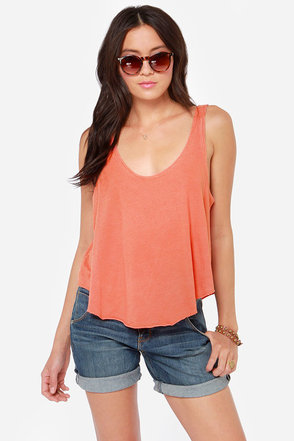 RVCA Label Drape Washed Coral Orange Tank Top