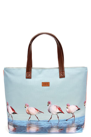 Paradise City Light Blue Flamingo Print Tote at Lulus.com!
