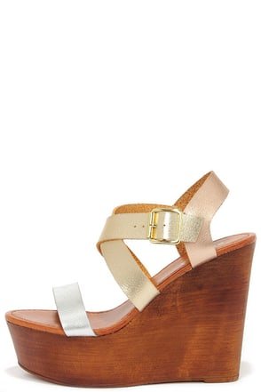 Tone It Up Metallic Wedge Sandals at Lulus.com!