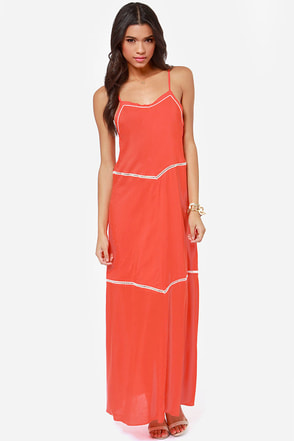 O'Neill Birdie Coral Maxi Dress