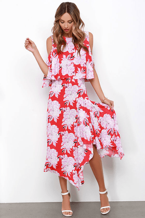 Bouquet Girl Hey! Coral Red Floral Print Two-Piece Dress at Lulus.com!