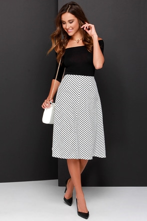 Line Dancing Black and Ivory Striped Midi Skirt at Lulus.com!