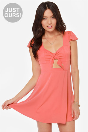 LULUS Exclusive Tie Spell Coral Pink Dress