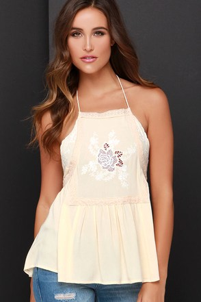 Warm Weather Wishes Cream Embroidered Halter Top at Lulus.com!