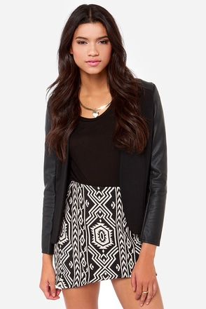Mink Pink Pardon My Freedom Black Southwest Print Skirt