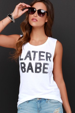 Later Babe Ivory Muscle Tee at Lulus.com!