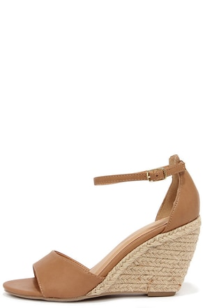 Charm School Sand Brown Espadrille Wedge Sandals at Lulus.com!