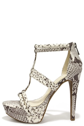 Jessica Simpson Solena Mojito Snakeskin Dress Sandals at Lulus.com!