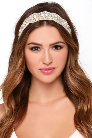 Vow or Never Beige Rhinestone Headband at Lulus.com!