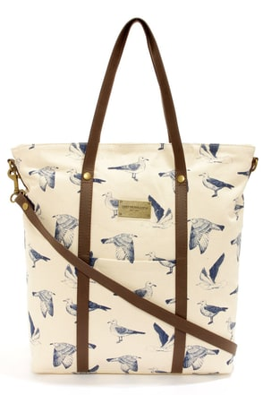 Obey Nantucket Cream Seagull Print Tote