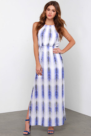 Black Swan Great Expectations Blue and Ivory Print Maxi Dress at Lulus.com!