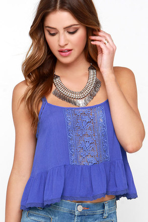 Fairy Trail Blue Lace Crop Top at Lulus.com!