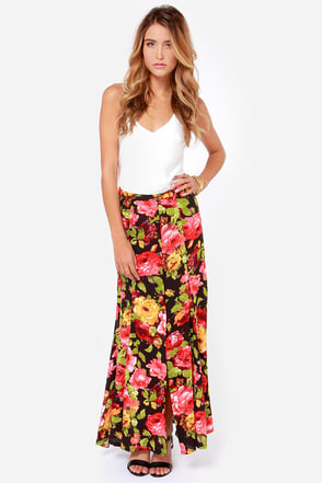 Room Full of Roses Black Floral Print Maxi Skirt