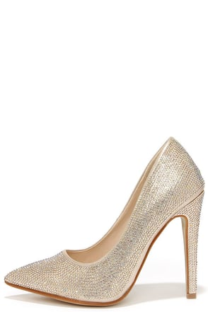 Made of Magic Gold Rhinestone Pointed Pumps at Lulus.com!