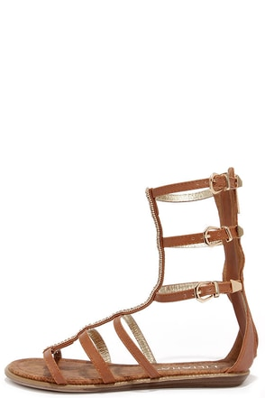 Warrior Princess Tan and Gold Beaded Gladiator Sandals at Lulus.com!