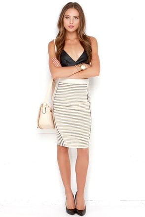 Lunch Break Date Beige and Ivory Striped Pencil Skirt at Lulus.com!