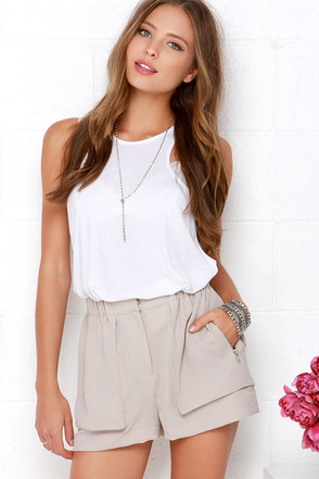Zip the Trail Taupe Shorts at Lulus.com!
