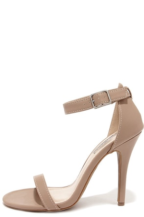 Anne Michelle Enzo 01N Nude Matte Single Strap Heels at Lulus.com!