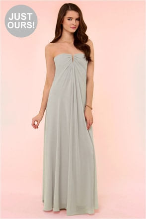 LULUS Exclusive Glide and True Light Grey Strapless Maxi Dress