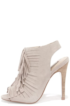 Chinese Laundry Lindy Mushroom Grey Kid Suede Fringe Booties at Lulus.com!