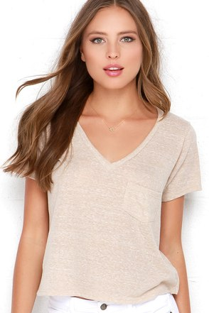 High Dive Beige Burnout Crop Tee at Lulus.com!