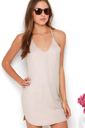 Thrilled to Bits Beige Dress at Lulus.com!