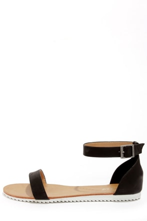 Bamboo Hearten 04 Black Ankle Strap Sandals
